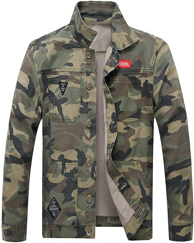 SPE969 Men's Camouflage Denim Jacket, Autumn Winter Casual Long Sleeve Turn-Down Collar