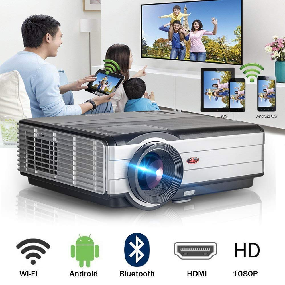 Wireless WiFi Bluetooth HDMI Projector 3500 Lumens Portable LED LCD Movie Gaming Projector 2019 Android 6.0 Smart Multimedia Video Proyector Support ...