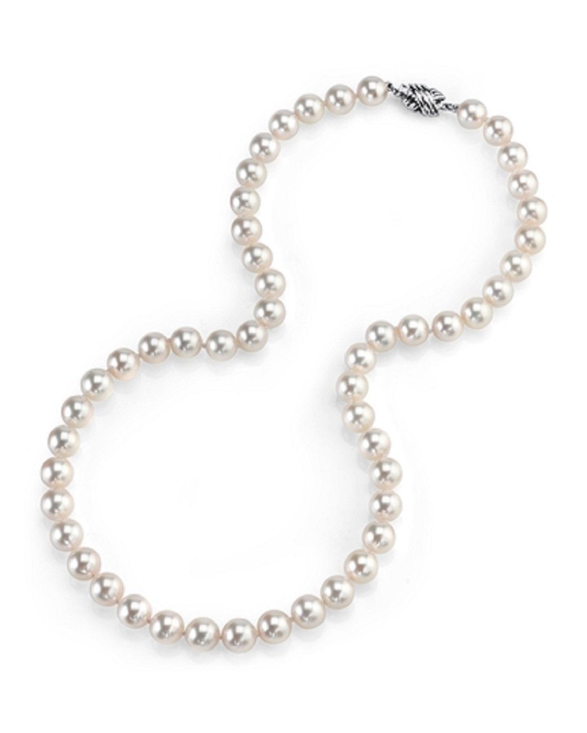 14K Gold 7.5-8.0 Japanese Akoya Saltwater White Cultured Pearl Necklace - AAA Quality, 16'' Choker Length