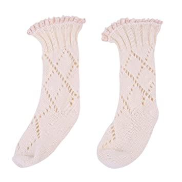 01b2ecef805 Amazon.com  potato001 Baby Boys Girls Kids Toddler Lace Top Decor Knee High  Leg Hollow Knitting Socks size S (White)  Baby
