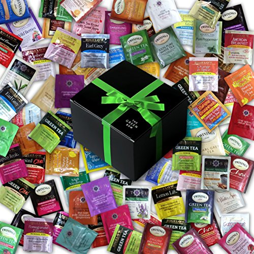 Custom Assorted Bigelow, Stash, Twining Teas (60 Count) - Variety Flavorful Sampler Caffeinated and Decaffeinated Fresh Natural Teabags in Foil Packets with Adorable Gift Box
