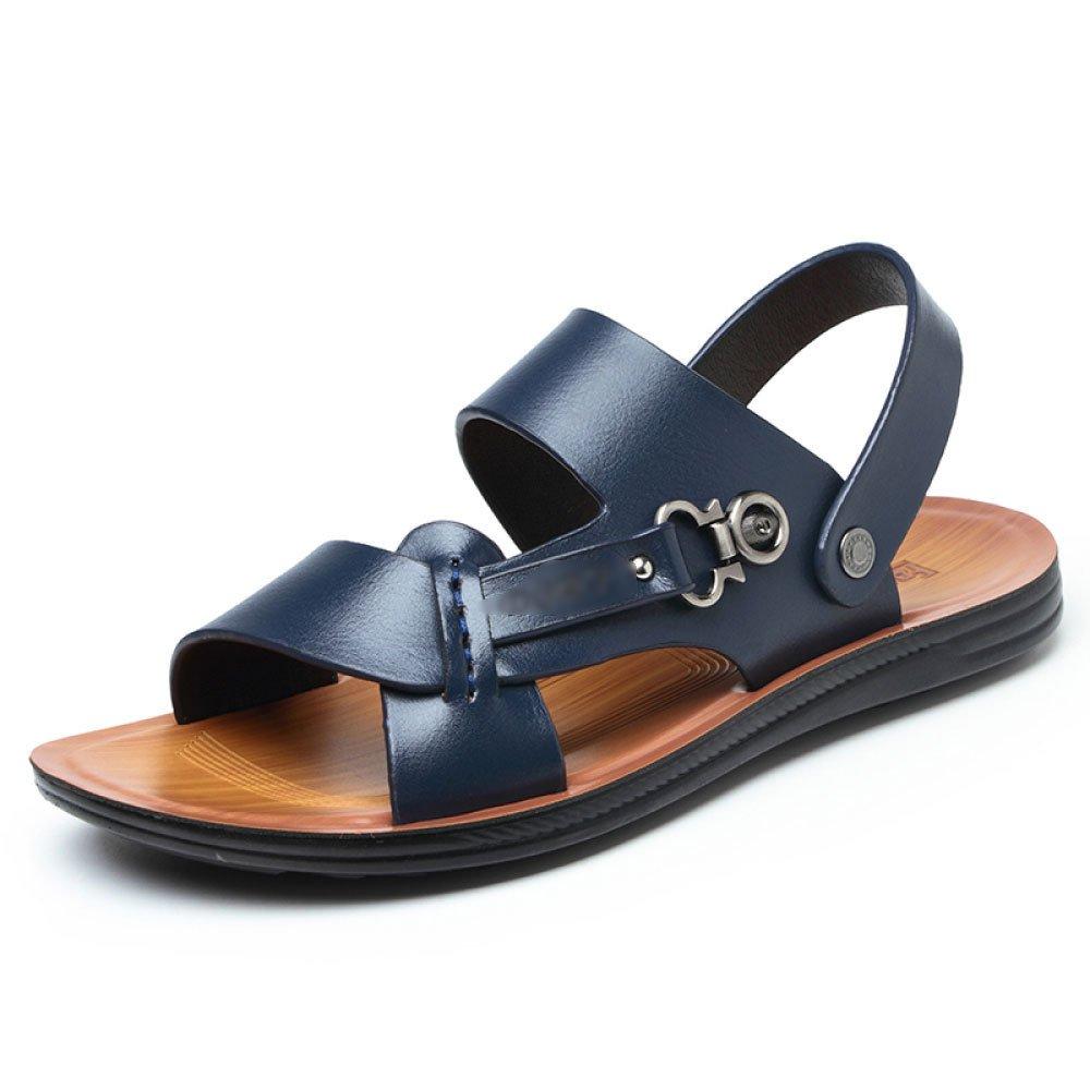 Männer Bad Toe Sandalen Leder Sommer Peep Toe Bad Lässig Sand Schwimmen Jugend Weiche Sohle Im Freien Rutschfeste Hausschuhe Schuhe Blau 759882