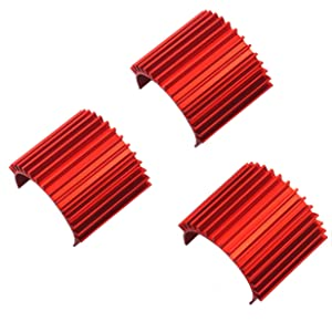 3Pack Mirthobby Aluminum 370 380 Brushless Brushed Electric Motor Heat Sink Heatsink Cooling Fins for 1/16 1/18 HSP HPI Wltoys Himoto Redcat Traxxas 1/16 RC Car Boat Truck (Red)