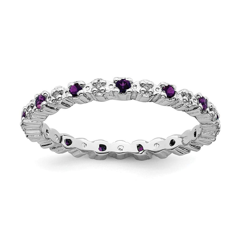 925 Sterling Silver Purple Amethyst Diamond Band Ring Size 7.00 Stone Stackable Gemstone Birthstone February Fine Jewelry Gifts For Women For Her by ICE CARATS