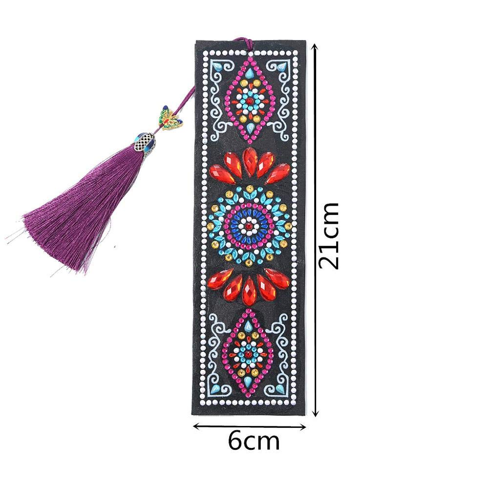 biliten 5D Chinese Style Diamond Painting Leather Bookmarks,DIY Craft Special Shaped Diamond Embroidery Bookmarks