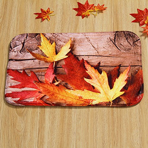 40cmX60cm Maple Leaf Door Mat Floor Pad Rectangle Rug Carpet Fall Scene Soft