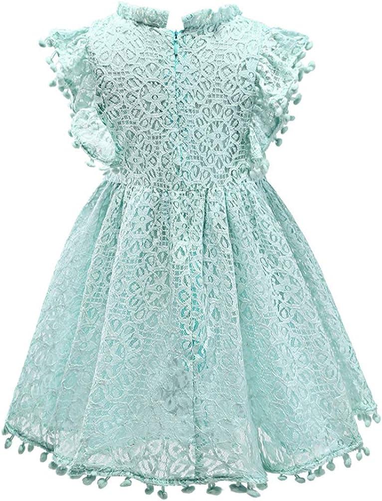 Csbks Toddler Girls Cute Pompoms Lace Floral Elegant Retro Swing Party Dress