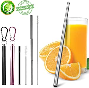 Metal Straws Collapsible Straws, 2 Pack Reusable Straws Food-Grade Portable Stainless Steel Metal Telescopic Drinking Straws with Travel Aluminum Case & Cleaning Brush & Keychain (Black+Rose Gold)