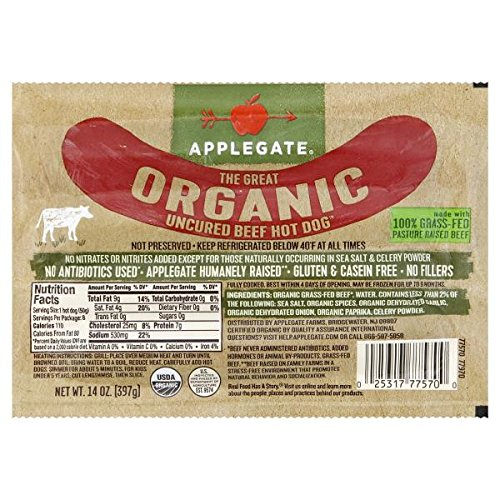 Applegate Organic Uncured Beef Hot Dog, 14 Ounce (Pack of 12) by Applegate