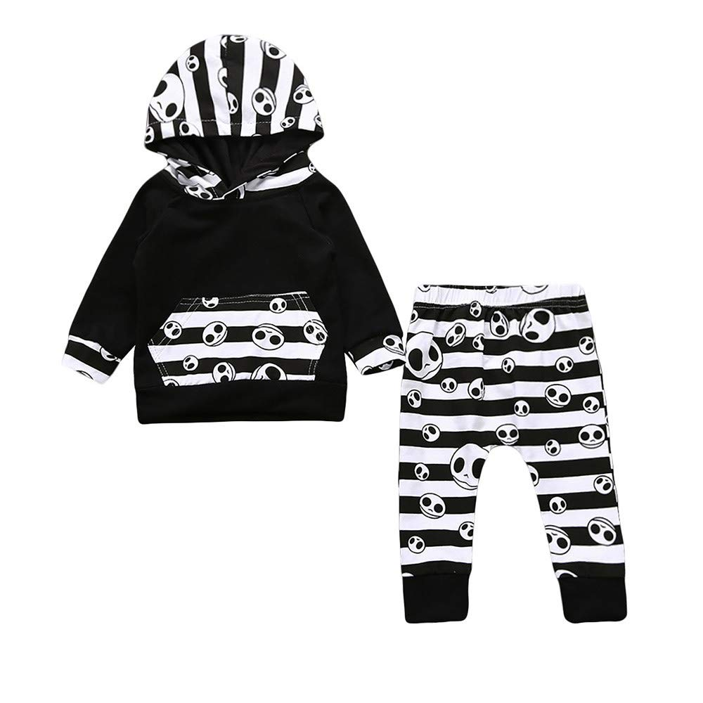 BHYDRY Halloween Toddler Baby Boys Clothes Striped Tops Hoodie Pants Outfits 2Pcs Set Costume