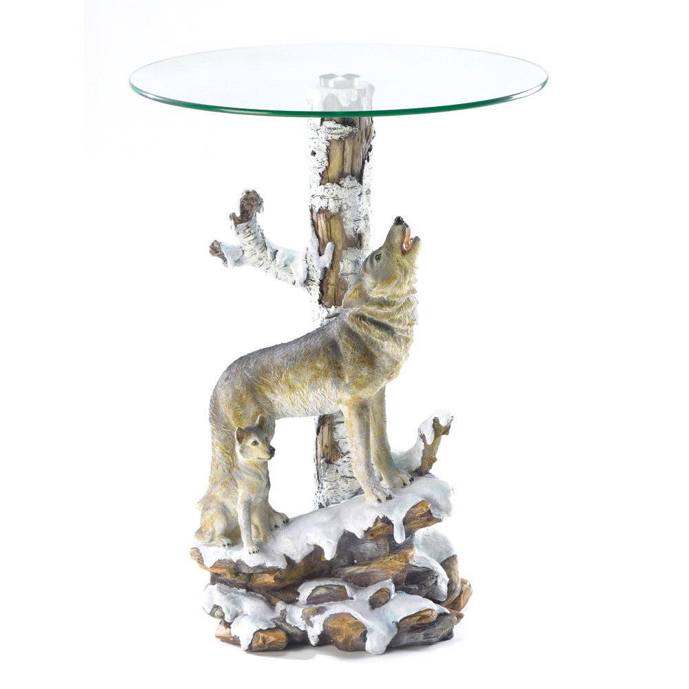 Amazon.com: Wolf Sculpture Base Accent Side Table With Glass Top: Home U0026  Kitchen