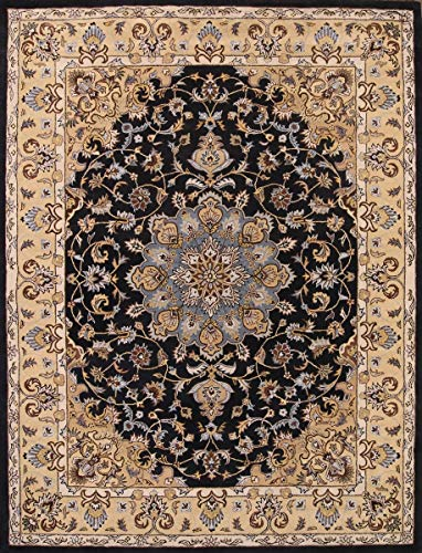 Rug Source New Oushak Floral Medallion Hand-Tufted 11x16 Black Wool Oriental Area Rug (15' 10