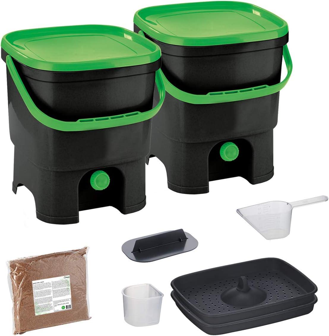 Skaza Bokashi Organko Set (2 x 16 L) Juego de 2 Compostadores de Cocina de Plástico Reciclado | Starter Set para Residuos de Cocina y Compostaje | Incluye de Bokashi Fermento EM 1 Kg. (Negro-Verde)