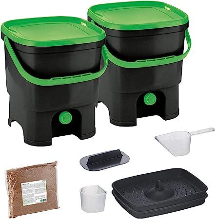 Skaza Bokashi Organko Set (2 x 16 L) Compostador 2X de Jardín y Cocina de Plástico Reciclado | Starter Set con EM Bokashi Polvo 1 Kg. (Negro-Verde): Amazon.es: Hogar