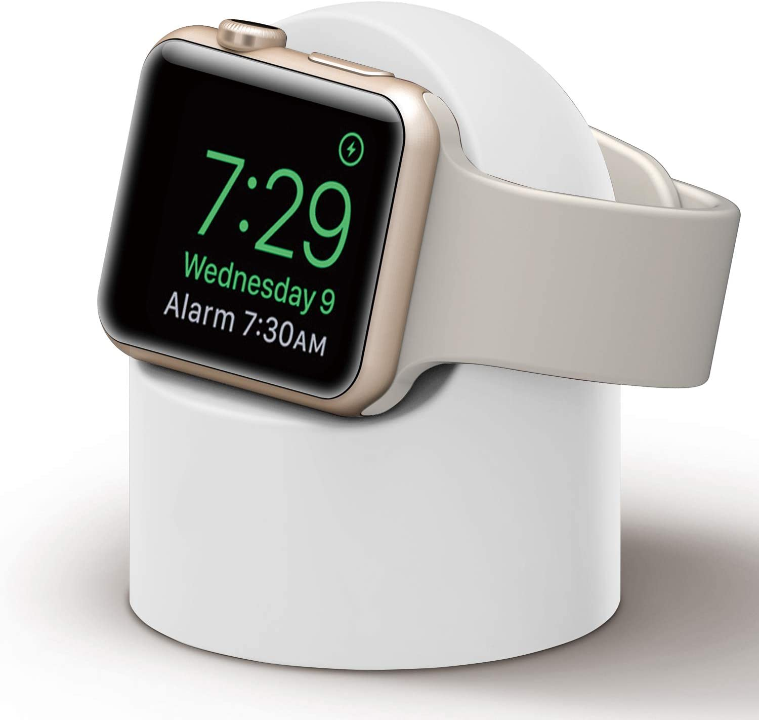 PROATL iWatch Charging Stand with Nightstand Mode, Silicone Charger Dock Holder for Apple Watch Series SE/6/5/4/3/2/1(44/42/40/38mm)?Adapters OR Cables NOT Included?(White)