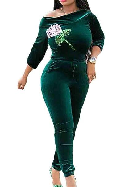 0f34a3a35dc9 Amazon.com  YUELANDE Women One-Shoulder Print Bodycon Velvet Long Sleeve  Rompers Jumpsuit  Clothing