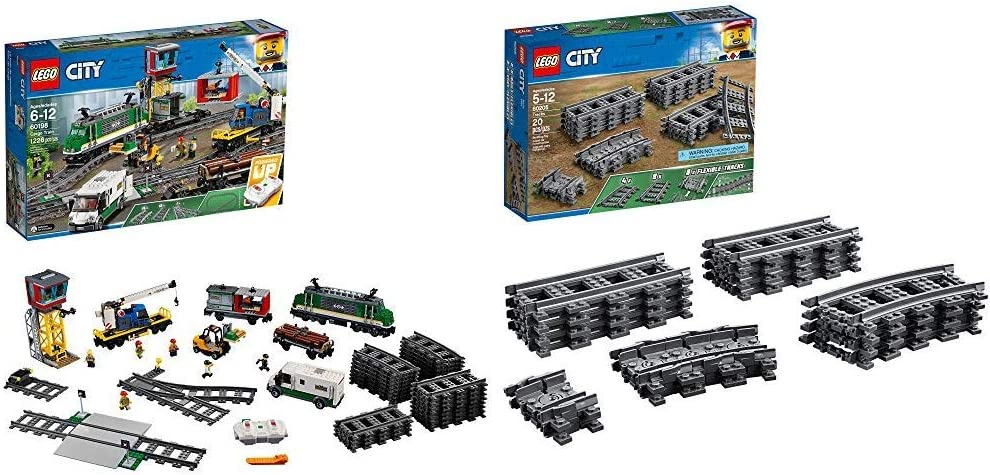 LEGO City Cargo Train 60198 Remote Control Train Building Set with Tracks for Kids(1226 Pieces) & City Tracks 60205 Building Kit (20 Pieces)