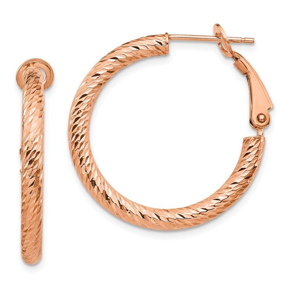 Leslie's 10k Rose Gold 3x20 D/C Round Omega Back Hoop Earrings 10LE474R