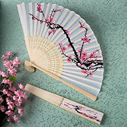 Delicate Cherry Blossom Design Silk Folding Fan Favors, 80