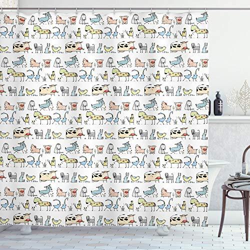 Ambesonne Retro Shower Curtain, Cartoon Village of Domestic Animals Goat Goose Sheep Funny Patterns Kids Nursery, Cloth Fabric Bathroom Decor Set with Hooks, 70