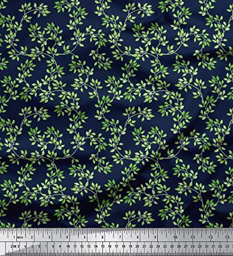 (Soimoi Blue Silk Fabric Elm Leaves Printed Fabric 1 Yard 44 Inch Wide)