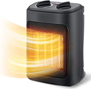 Space Heater, 1500W Electric Heaters Indoor Portable with Thermostat, PTC Fast Heating Ceramic Room Small Heater with Heating and Fan Modes for Bedroom, Office and Indoor Use