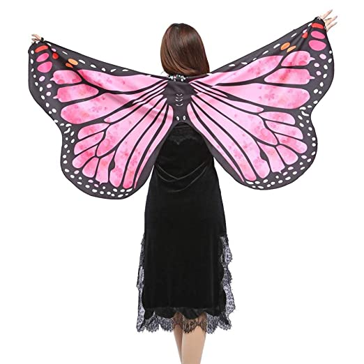 332d8e210cf07 Amazon.com: Qisc Women Butterfly Wings Shawl Scarves Ladies Poncho ...