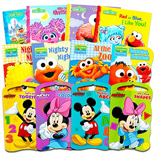 Sesame Street + Mickey Mouse Baby Toddler Beginnings Board Books & Story Books Collection (12 Book Set) by Sesame Street