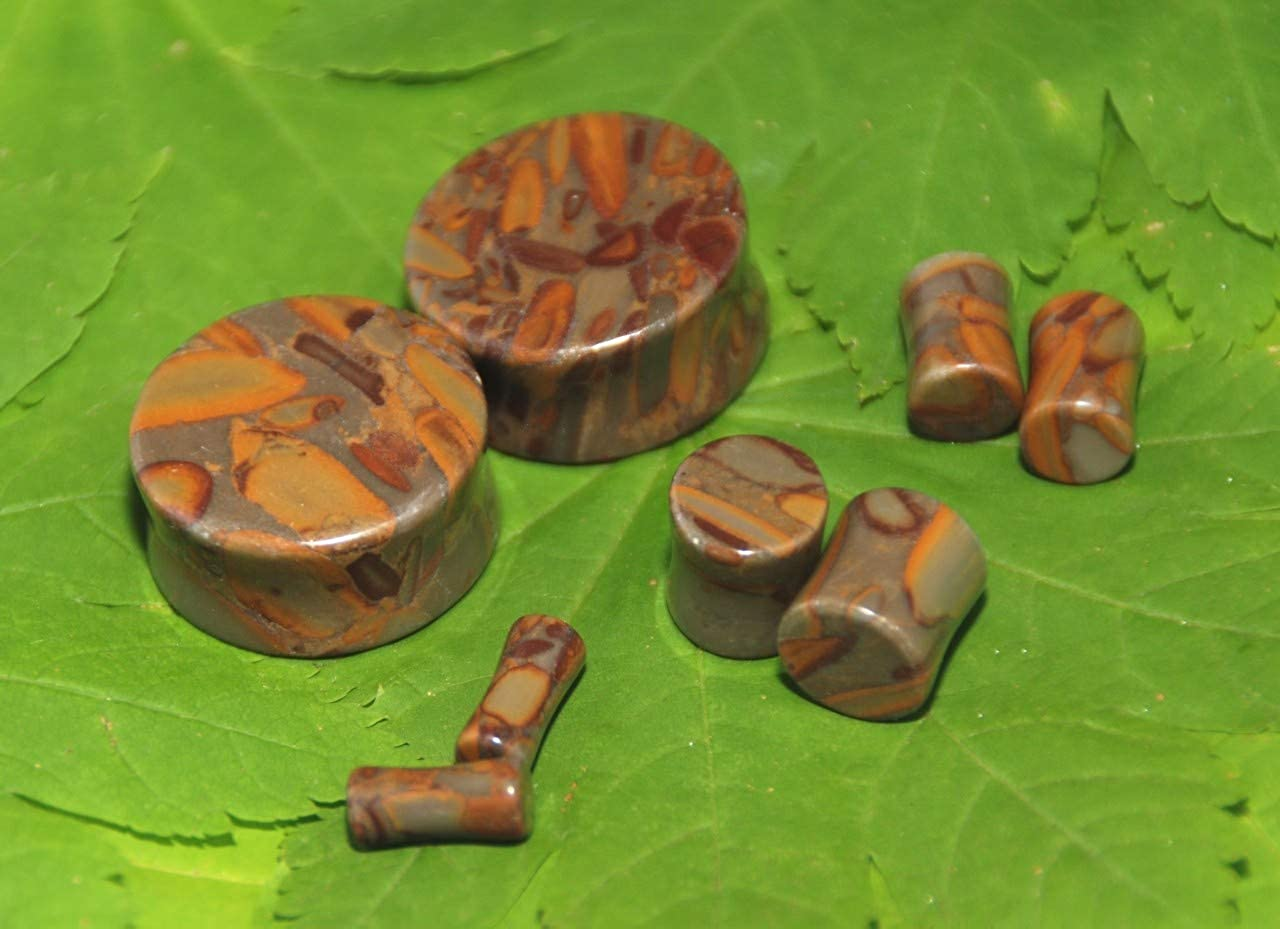 Intrepid Jewelry Bamboo Jasper Plugs Double Flared Plugs