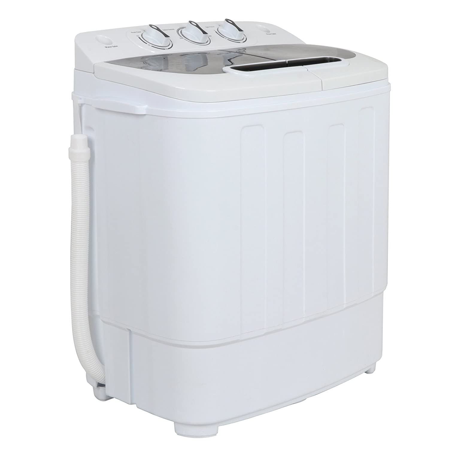 ZENSTYLE Portable Mini Twin Tub Washing machine w/Spin Cycle Dryer Compact Built-in Gravity Drain 13 lbs Capacity 2-in-1 Washer/Spinner w/Hose for Dorm College Room Apartment RV's Camping Traveling