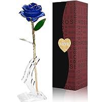 Magicpeony Rose, 24k Gold Rose Echte Konservierte Rose mit Echtem Grünen Blatt - mit Geschenkbox für Frau Freundin/Muttertag/ Geburtstag/Hochzeitstag/ Jahrestag Geburtstag Künstliche Rose