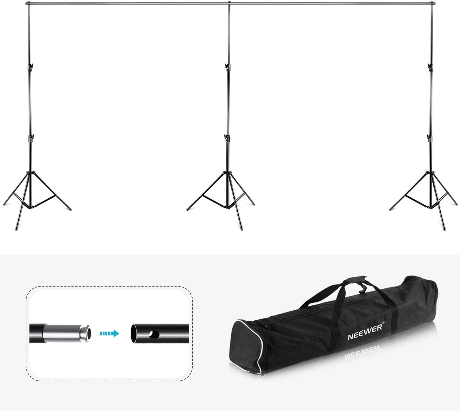 Neewer Telescopic Tube Background Support Pole and Stand with Heavy Duty Base for Photography Backdrop and Trade Show Display W x H Aluminum Alloy 10 x 8 feet Adjustable Frame