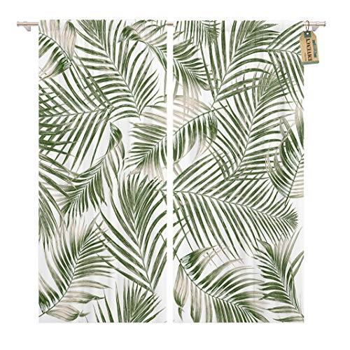 - Golee Window Curtain Pattern Green Leaves of Palm Tree on Leaf Tropical Home Decor Rod Pocket Drapes 2 Panels Curtain 104 x 84 inches