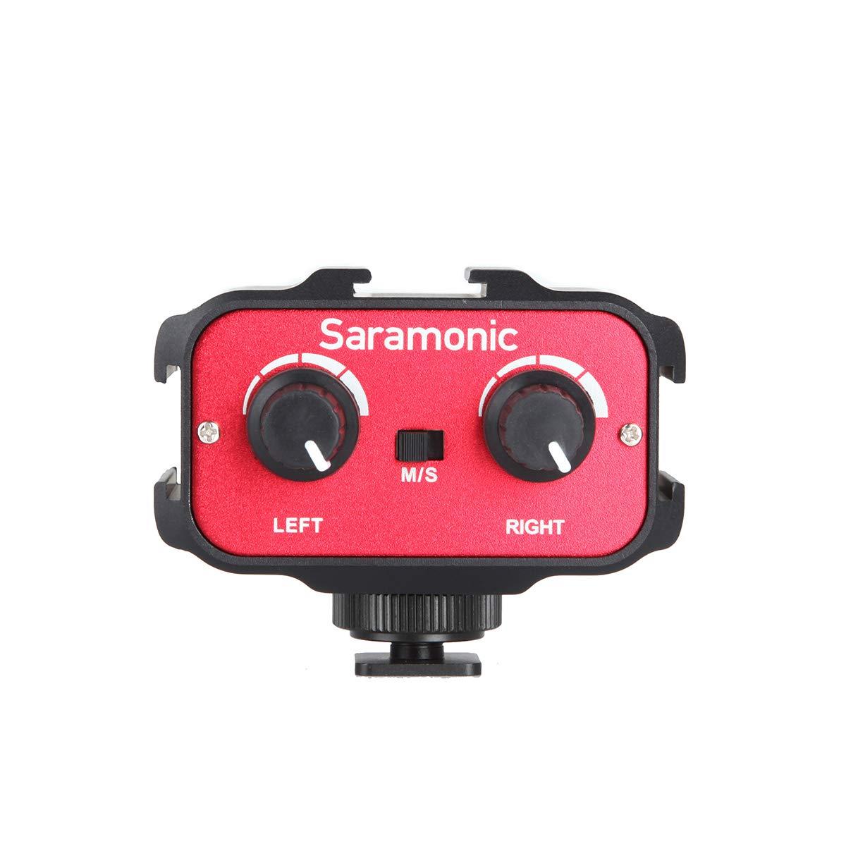 Saramonic SR-AX100 Audio Mixer Adapter Microphone Amplifier Universal Dual Channels 3.5mm Port Camera Mixer for Canon EOS Nikon Sony Panasonic DSLR Camera Camcorder