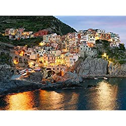 Cinque Terre -Oil Painting On Canvas Modern Wall Art Pictures For Home Decoration Wooden Framed (12X16 Inch, Framed)