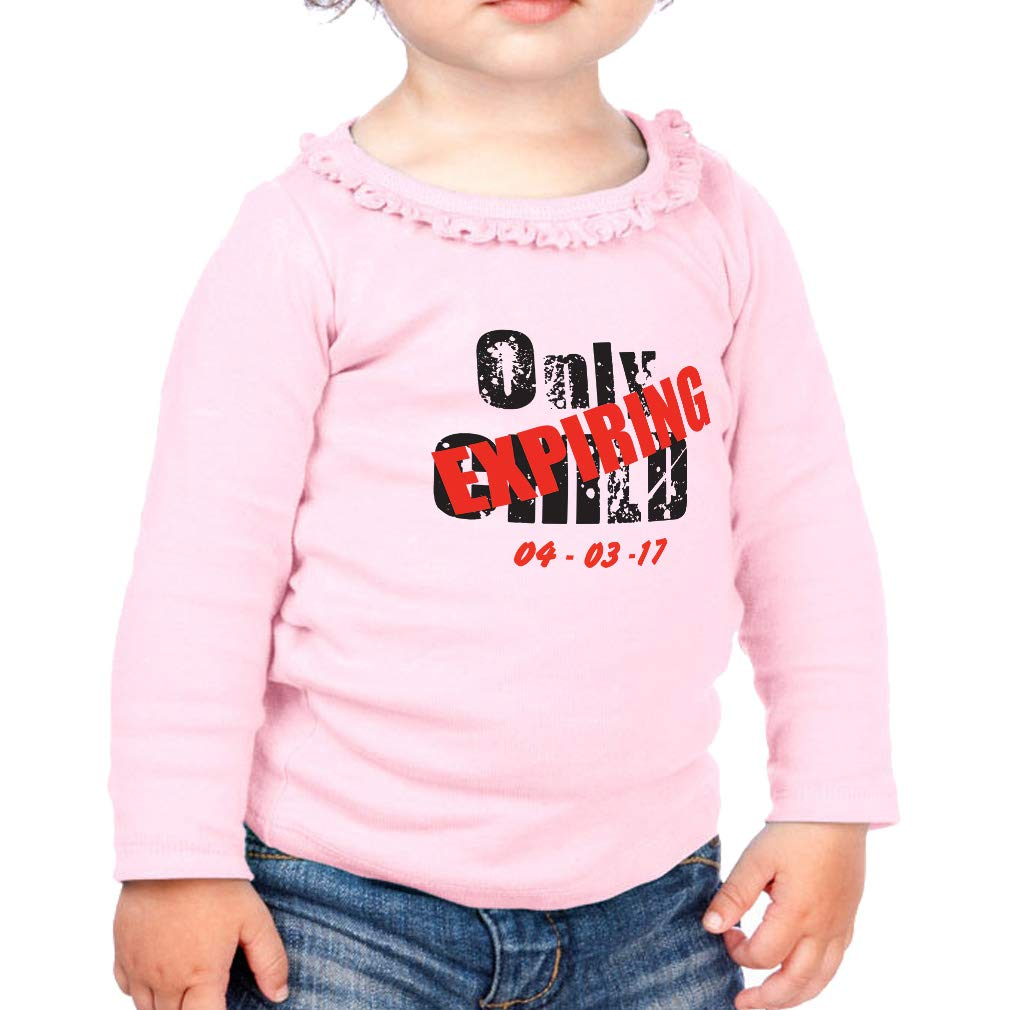 Personalized Child Expiring Date Cotton Toddler Long Sleeve Ruffle Shirt Top