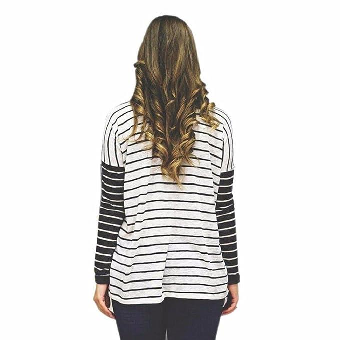 Tongshi Ropa de rayas manga redondo cuello camisa Top blusa larga de mujer (EU 38 (Asia L), Blanco): Amazon.es: Ropa y accesorios