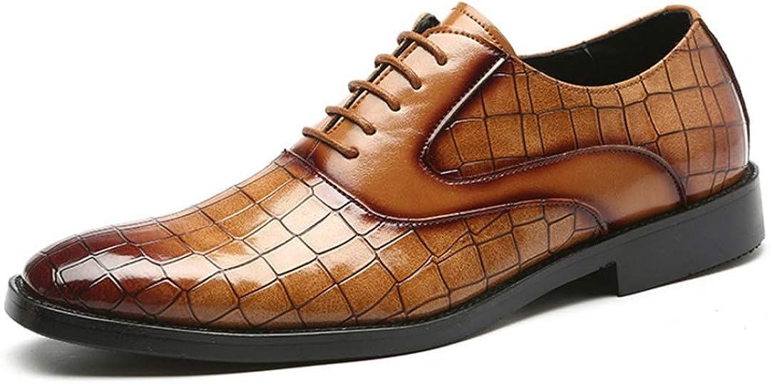 Zapatos de Vestir de Negocios para Hombres Ropa Ligera Cordones Resistentes de Cuero Oxfords Punta Puntiaguda Zapatos de Oficina de Boda Formal