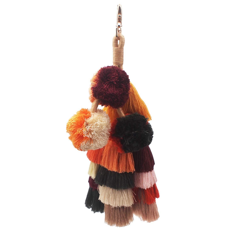 Bohemian Handmade Bag Pendant Women Accessories Charm Pompom Keychain Brown Multi