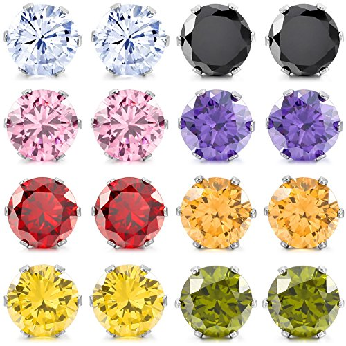 MOWOM Multicolor 10mm 16PCS Stainless Steel Stud Earrings CZ Round Square Royal King Crown Set ( 8 Pairs ) (6 Prong Earrings)