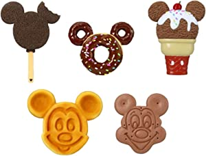 Disney Food Magnets- Mickey Waffle, Ice Cream Bar, Cone, Sandwich and Donut for Fridge (5 Pieces)