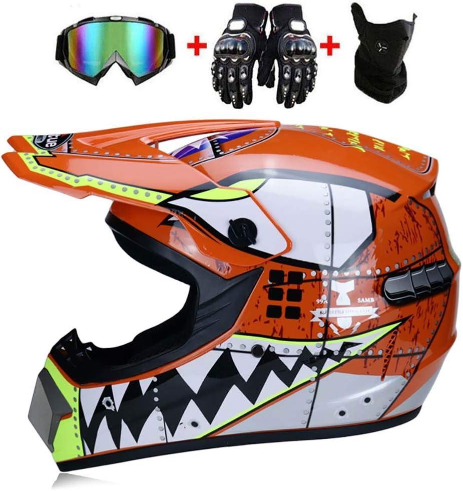 LWAJ Casco da Motocross per Fuori-Strada Bambini Quad Bike ATV Go Karting Casco Uomini E Donne Battery Car Helmet Mountain Bike Casco con Occhiali//Guanti