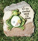 11.5″h Frog Garden Stone If I See Another Weed Ill Croak By Roman For Sale