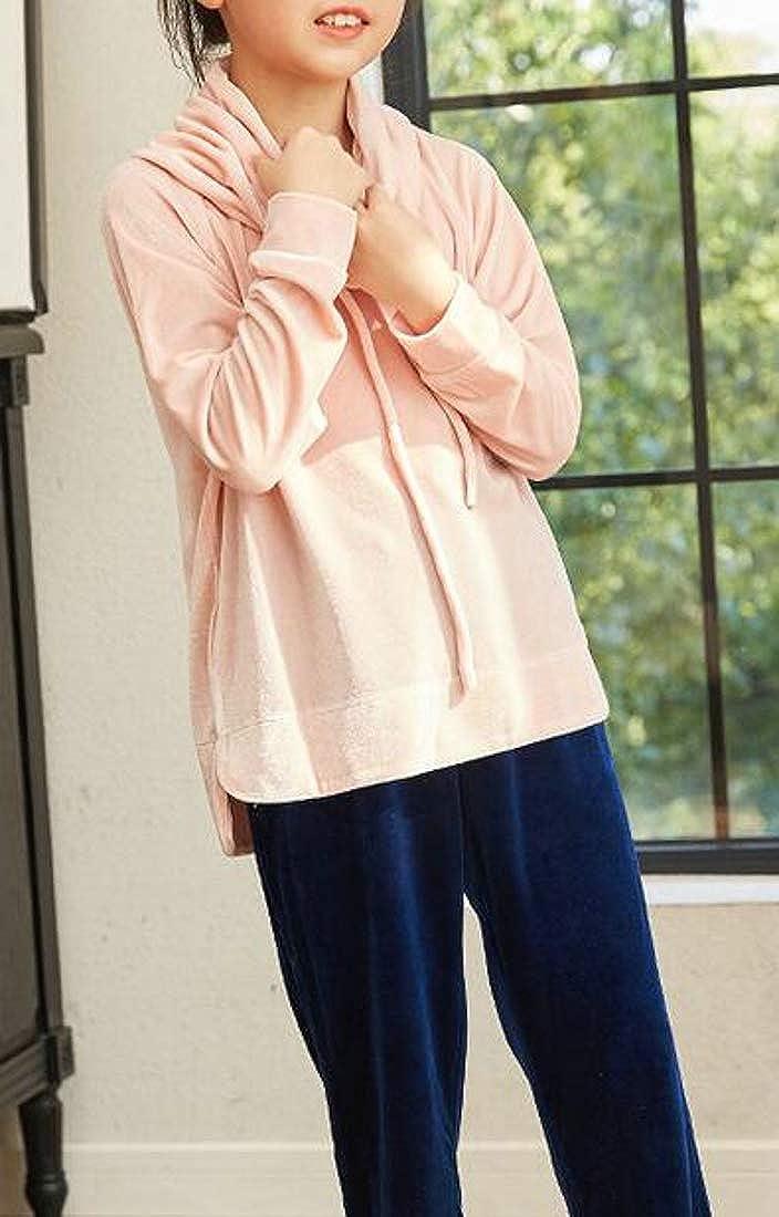 Macondoo Girl Long-Sleeve Top Sleepwear Velour Pants Two Pieces Pajama Sets