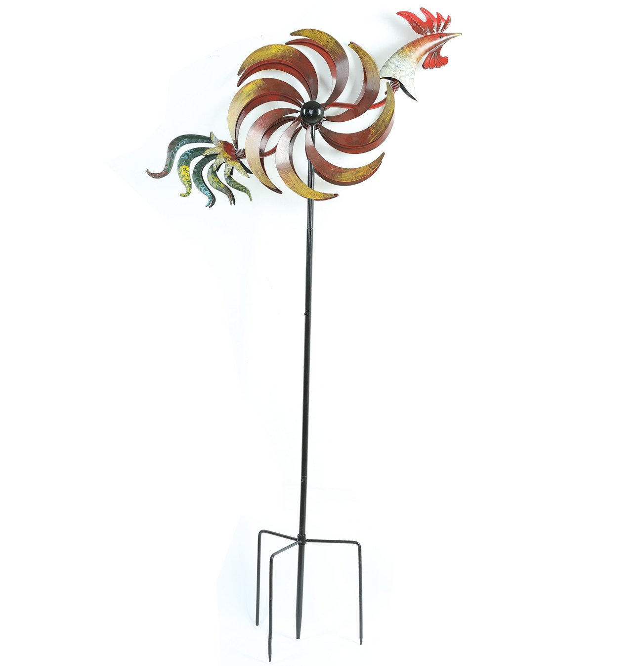 CEDAR HOME Wind Spinner Twirler Sculpture Garden Stake Outdoor Metal Stick Art Ornament Flaming Rooster Figurine Decor for Lawn Yard Patio, 31'' W x 7'' D x 64'' H