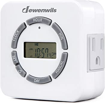 dewenwils digital indoor light timer for electrical outlets 7 day programmable plug in lamp timer switch 2 grounded outlets etl listed - Lamp Timer