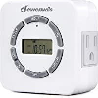 DEWENWILS Digital Indoor Light Timer for Electrical Outlets, 7 Day Programmable Plug In Lamp Timer Switch, 2 Grounded Outlets, ETL Listed