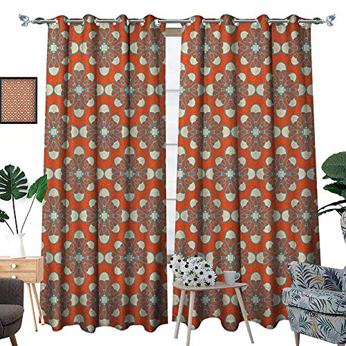 (Geometric Patterned Drape for Glass Door Warm Colored Square Shapes Dotted Background Surreal Geometric Pattern Waterproof Window Curtain W96 x L84 Vermilion Cream Blue)