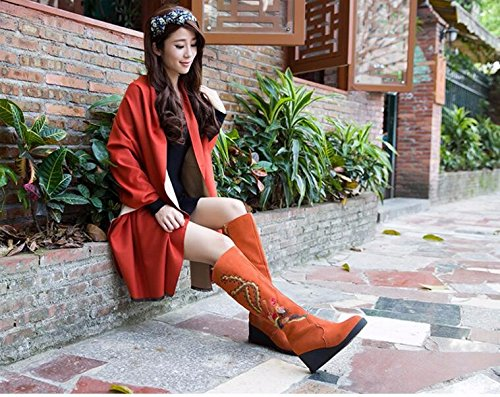 And High 37 Boots Thick Women Women'S Boots Shoes KHSKX Snow Boots Are Orange Embroidered Long With Wind National Boots And Slope RZRWIBqU8