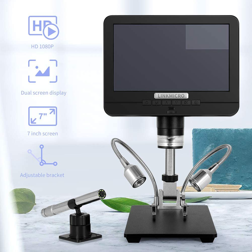 Linkmicro Digital Microscope with Endoscope Image Switchable 7 Inch Screen Two Camera Real Time Sync Play with Metal Adjustable Stand for Material Inspection Phone Repair and SMT//BGA Soldering Tools